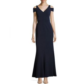 Cold-shoulder V-neck Sheath Gown