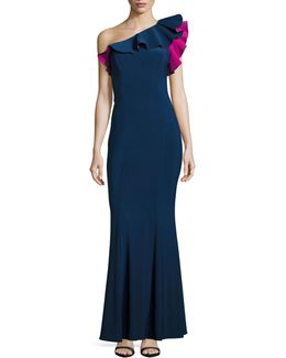 One-shoulder Fitted Ruffle Gown