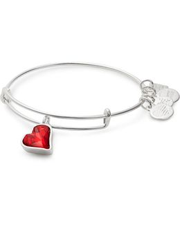 Heart Of Strength Silverplated Swarovski Crystal Charm Bangle