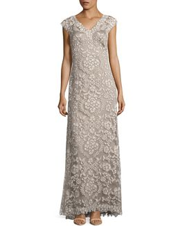 Corded Lace V-neck Sheath Gown