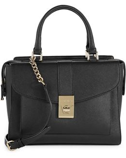 Alexis Saffiano Front Pocket Leather Satchel Bag