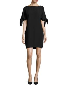 Crepe Shift Dress With Knotted Sleeves