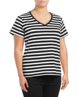 Plus Striped V-neck T-shirt