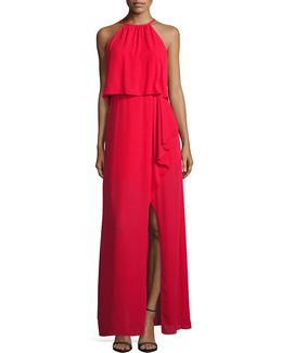 Popover Gown With Side Ruffle