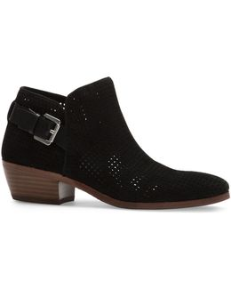Paula Leather Perforated Ankle Boots
