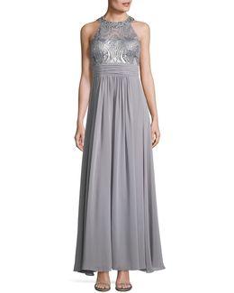 Beaded Lace And Chiffon A-line Dress