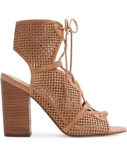 Alicya Perforated Leather Lace-up Sandals