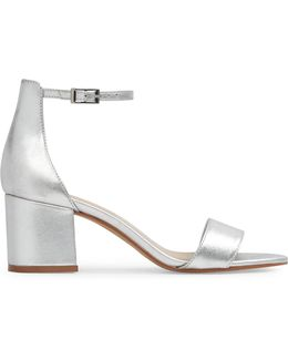 Villarosa Low Block Heel Metallic Leather Sandals