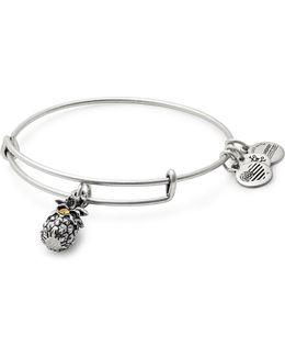 Swarovski Crystal Silverplated Pineapple Charm Bangle Bracelet