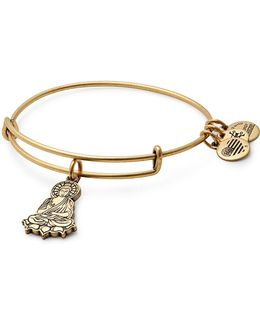 Goldtone Buddha Charm Bangle