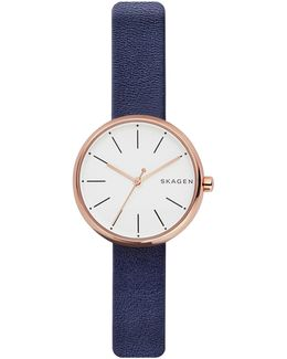 Analog Signature Rose-goldtone Leather Strap Watch