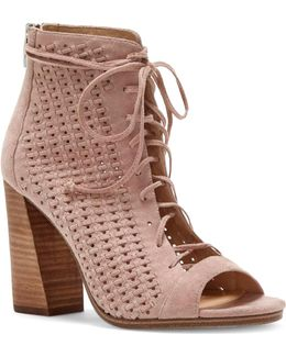 Kevina Woven Suede Lace-up Shooties