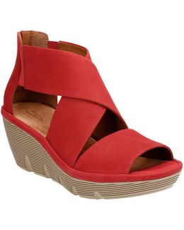 Artisan Clarene Glamor Nubuck Leather Wedge Sandals