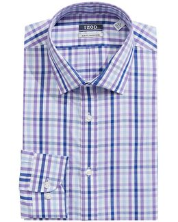 Slim Fit Wrinkle Free Plaid Dress Shirt