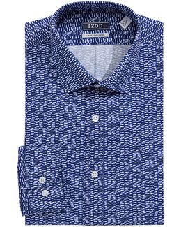 Slim Fit Wrinkle Free Marine Print Dress Shirt