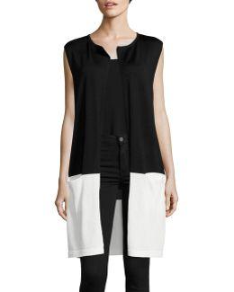Colourblocked Open-front Vest