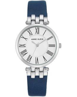 Silvertone Leather Strap Watch