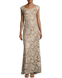 Metallic Soutache Lace Peony Gown
