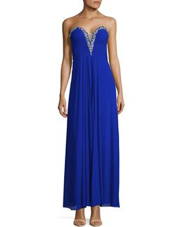Strapless Beaded Prom Dress