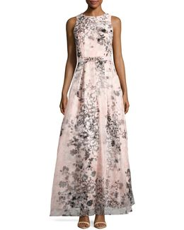 Illusion Floral Ball Gown With Belt