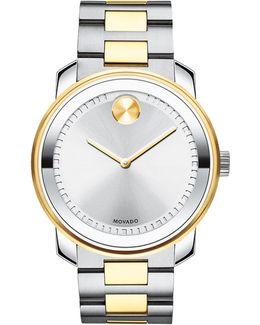 Bold Analog Stainless Steel Bracelet Watch