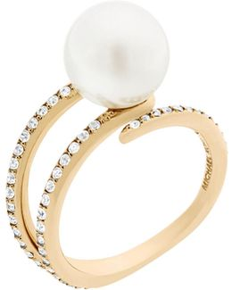 Beaded Goldtone Pave Open Ring
