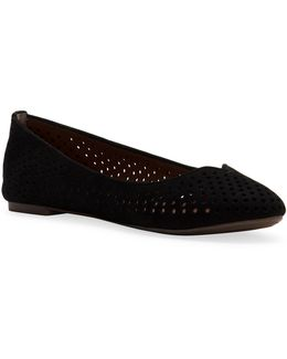 Enorahh Leather Perforated Ballet Flats