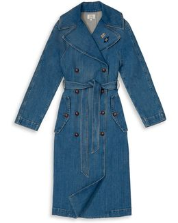 Tommy X Gigi Denim Trench Coat With Patches