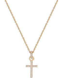 Mini Paved Crystal Cross Pendant Necklace