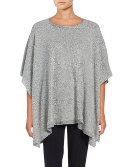 Boat Neck Knit Poncho Top