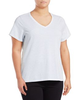 Plus Plus Striped Compact Cotton T-shirt