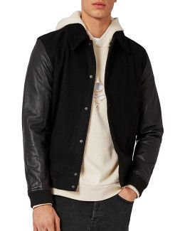 Contrast Sleeve Shearling Collar Bomber Jacket