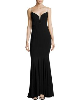 Seamed Plunge Illusion Gown
