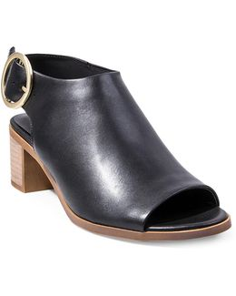Remedy Leather Peep-toe Booties