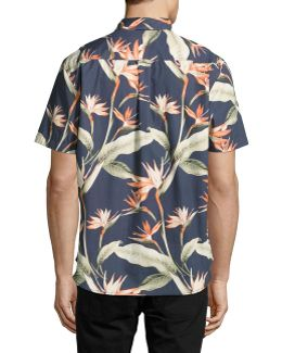 Puerto De Paradise Palm Print Short Sleeve Shirt