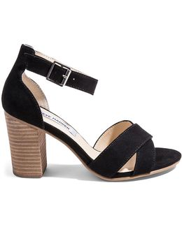 Flawless Faux Suede Stacked-heel Sandals