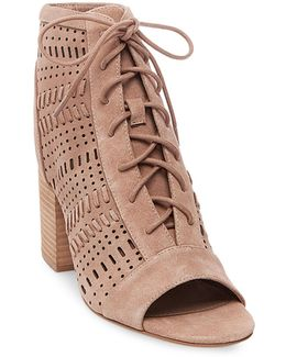 Gavell Suede Open-toe Booties