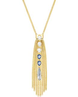 Gipsy Crystal Goldplated Fringe Pendant Necklace
