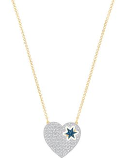 Great Start Crystal Goldplated Heart Flip Pendant Necklace