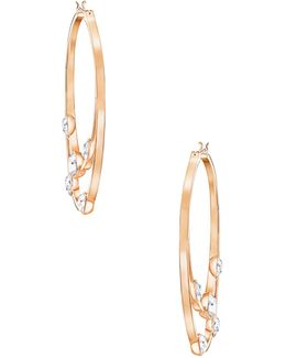 Crystal And Rose Goldplated Gaze Hoop Earrings