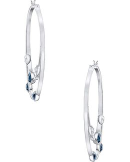 Gaze Crystal Rhodium-plated Hoop Earrings
