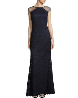 Illusion Cap Sleeve Lace Sheath Gown