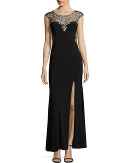 Beaded Illusion Sheath Gown