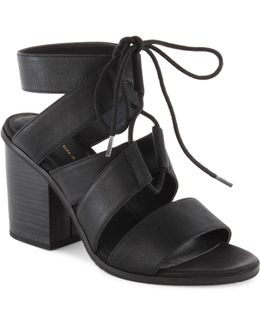 Stacked Heel Lace-up Sandals