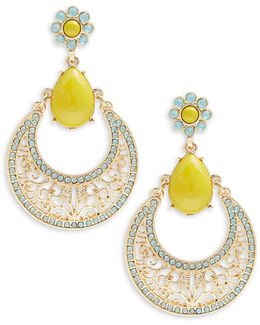 Cabochon And Crystal Pave Drop Hoop Earrings
