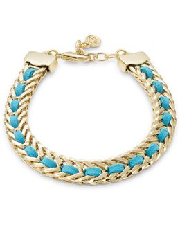 Leather Woven Braided Goldtone Bracelet