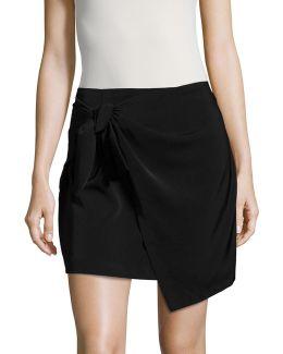 Knit Mock-wrap Skirt