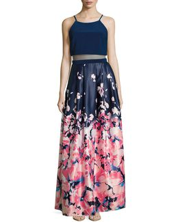 Popover Halter Gown With Floral Skirt