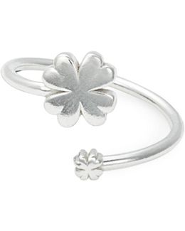 Sterling Silver Four Leaf Clover Wrap Ring