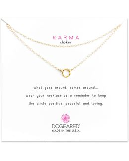 Karma Sparkle Sterling Silver Chain Choker Necklace